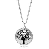 TREE OF LIFE PENDANT  - BLACK & SILVER