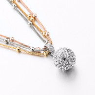 RHINESTONE SILVER BALL- NECKLACE