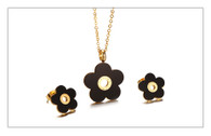 LUXE TIME IN BLACK FLOWER (STAINLESS STEEL - GOLD)