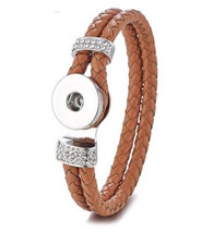 DOBLE BRAIDED BANGLE  21 CM - BROWN