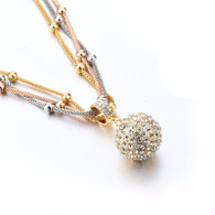 RHINESTONE GOLD BALL- NECKLACE