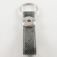 LEATHER STAINLESS STEEL KEYCHAIN - SILVER SNAKE