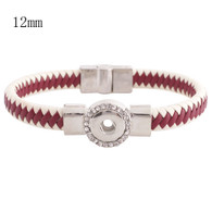 RED & CREAM LEATHER BRACELET