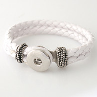 PURE WHITE ONE BUTTON BRAIDED LEATHER BRACELET - 21 CM
