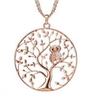TREE OF LIFE OWL NECKLACE - ROSE GOLD