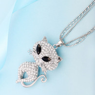 GLITZY CAT NECKLACE - SILVER