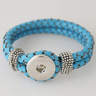 BLUE ONE BUTTOM BRAIDED LEATHER BRACELET - 21 CM