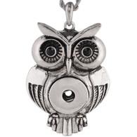 VINTAGE OWL PENDANT - BLACK PAVE