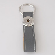 LEATHER STAINLESS STEEL KEYCHAIN - GRAY