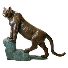 Cougar on a Rock Cast Bronze Garden Statue
