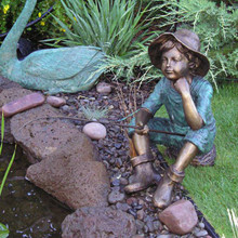 Fish Wish Fisherboy Cast Bronze Garden Statue