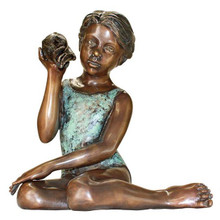 Sea Shell Sounds Sitting Girl Cast Bronze Garden Statue
