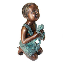 New Friend, Boy with Frog Cast Bronze Garden Statue