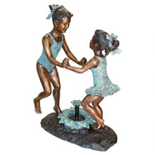 Dancing Splash Girls Cast Bronze Garden Statue