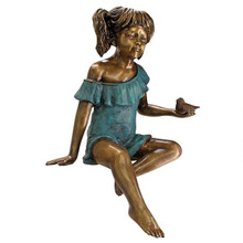 Bridgette with Bird, Little Girl Cast Bronze Garden Statue