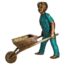 Wheelbarrow Willie, Garden Boy Cast Bronze Garden Statue