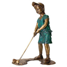 Gabrielle, The Girl Golfer Cast Bronze Garden Statue
