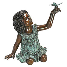 Butterfly Wonder, Little Girl Cast Bronze Garden Statue