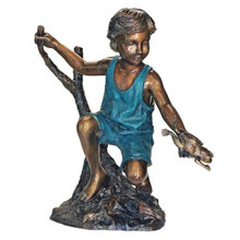 Catch and Release, Boy with Frog Cast Bronze Garden Statue