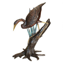 Fishing Heron in Reeds Cast Bronze Garden Statue
