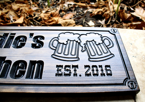 2 beer mugs BBQ sign