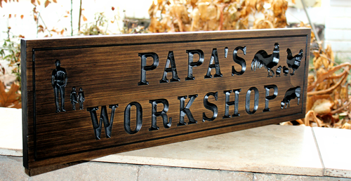Workshop sign feat grandfather with 2 girls & chickens
