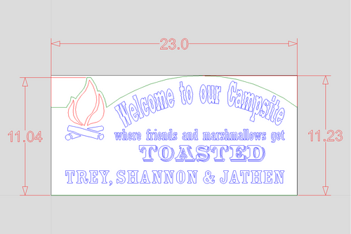 dimensions of the camping sign