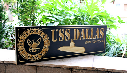US Navy Submarine Plaque / Sign fest USS DALLAS
