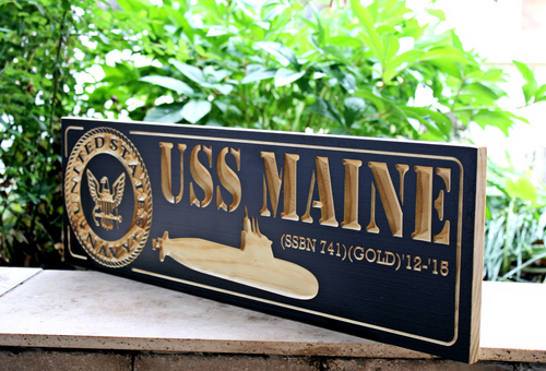 US Navy Submarine Plaque / Sign feat USS MAINE