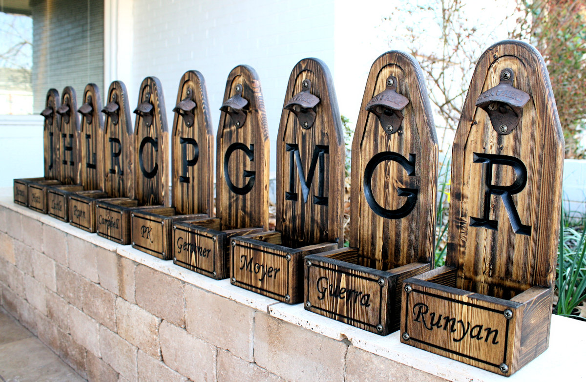 Beer Bottle Opener Set with Initial & Names