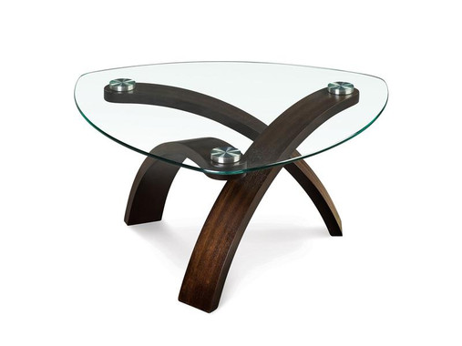 Allure Glass and  Hazelnut  Cocktail Table