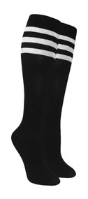 Compression Socks - Black/White Top Stripe (Size: 9-11) - 1 dozen