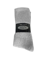 Socks Plus Diabetic Crew Socks - Grey (10-13) - 1 dozen