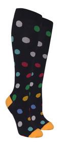 Compression Socks - Black/Color Polka-Dots (Size: 9-11) - 1 dozen