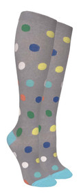 Compression Socks - Gray/Color Polka Dots (Size: 9-11) - 1 dozen