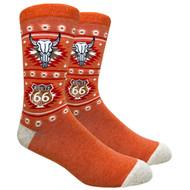 FineFit Novelty Socks - Route 66 Longhorn Orange (NV076B) - 1 Dozen