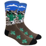 FineFit Novelty Socks - Cool Cactus Blue (NV077B) - 1 Dozen