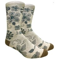 FineFit Novelty Socks - Hawaiian Flower - Beige (NV083A) - 1 Dozen