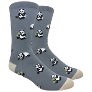 FineFit Novelty Socks - Panda - Grey (NV086A) - 1 Dozen