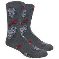 FineFit Novelty Socks - Skulls & Roses - Grey (NV087B) - 1 Dozen