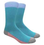FineFit Plain Dress Socks - Teal with Pink Bottom/Grey Heel & Toe - 1 Dozen