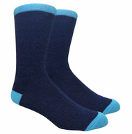 FineFit Plain Dress Socks - Heather Navy w/ Light Blue Heel & Toe - 1 Dozen