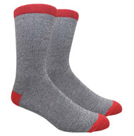 FineFit Plain Dress Socks - Heather Grey w/ Red Heel & Toe - 1 Dozen