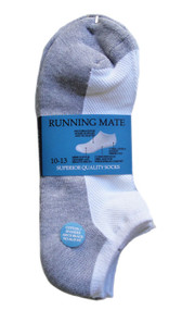 Running Mate Low-Cut Socks - White/Gray (SR206WG) - 1 Dozen