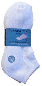 Running Mate Mid-Cut Socks - White (SR207W) - 1 Dozen
