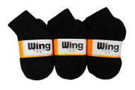 Wing Sports Ankle Socks - Black (Size: 2-3) - 1 dozen