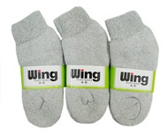 Wing Sports Ankle Socks - Grey (Size: 4-6) - 1 dozen