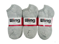 Wing Sports Low-Cut Socks - Grey (Size: 6-8) - 1 dozen