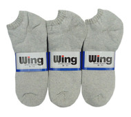 Wing Sports Low-Cut Socks - Grey (Size: 9-11) - 1 dozen