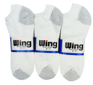 Wing Sports Low-Cut Socks - White/Grey (Size: 9-11) - 1 dozen